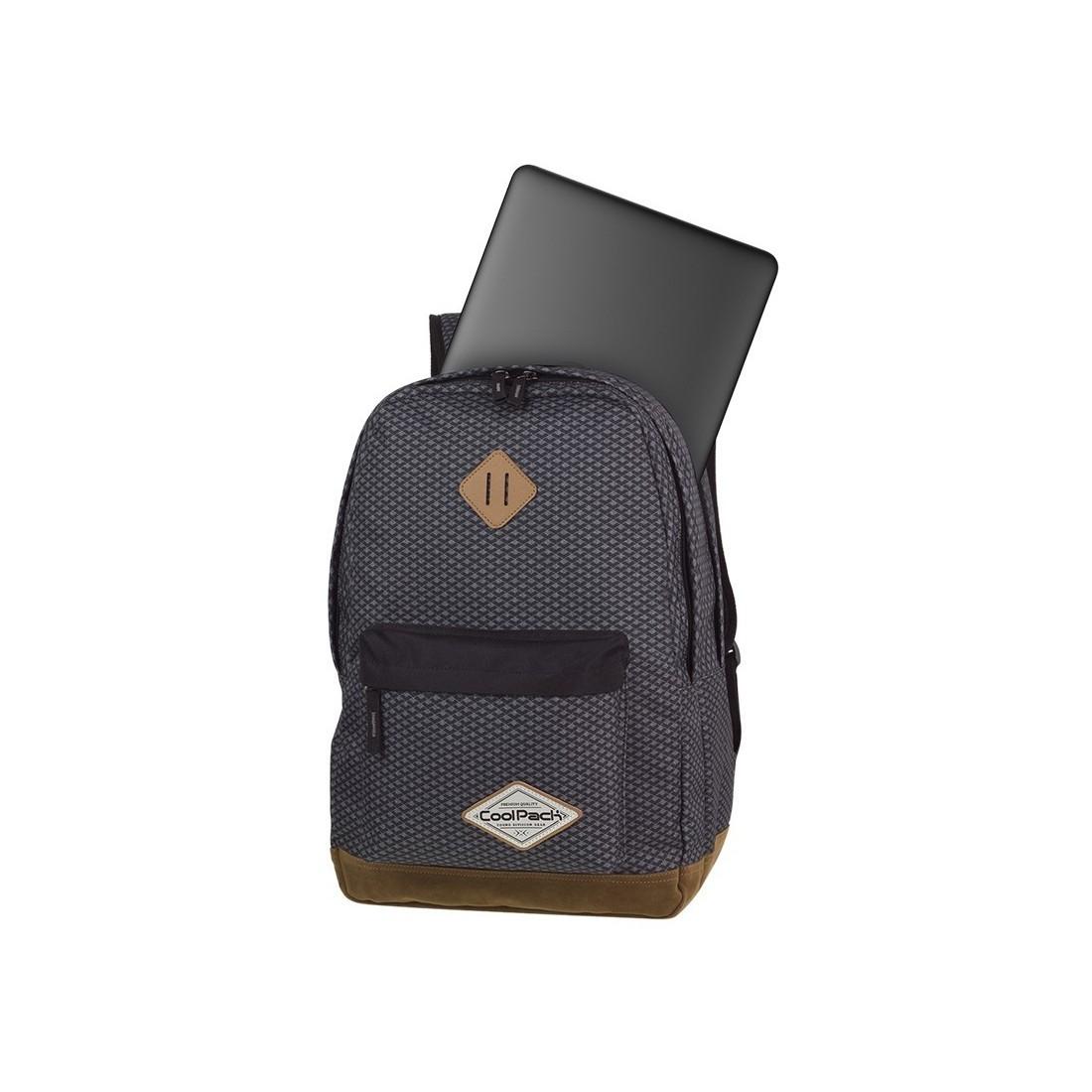 Plecak młodzieżowy CoolPack CP SCOUT DARK GREY NET ciemna szarość kieszeń na laptop - A122