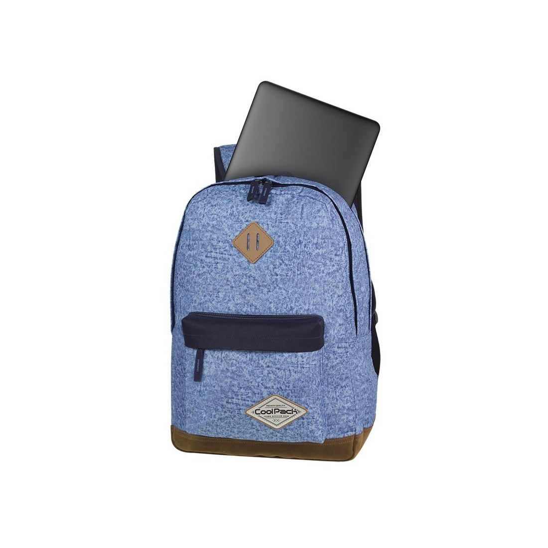 Plecak młodzieżowy CoolPack CP SCOUT SHABBY BLUE niebieski melanż czarne elementy kieszeń na laptop - A119