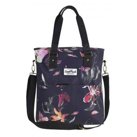 Czarna torba damska na ramię CoolPack CP AMBER LILIES lilie kwiaty - A098