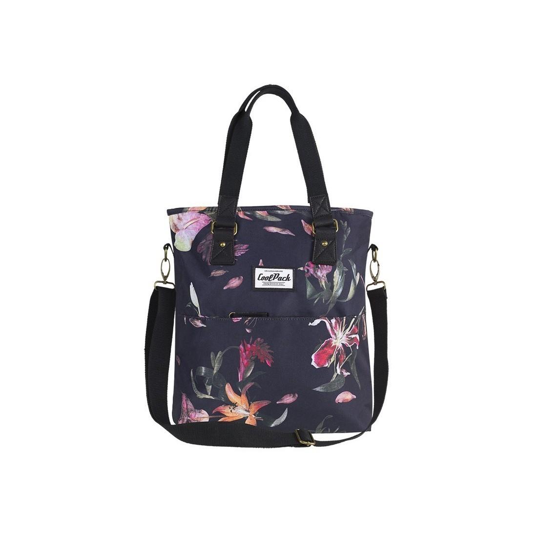 864b669b52945 Czarna torba damska na ramię CoolPack CP AMBER LILIES lilie kwiaty - A098