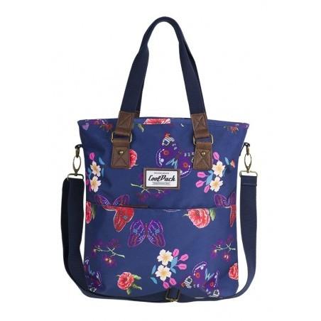 Torba damska na ramię CoolPack CP AMBER SUMMER DREAM niebieska w motyle i kwiaty - A101
