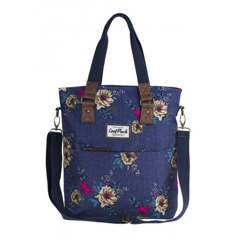 Torba damska na ramię CoolPack CP AMBER BLUE DENIM FLOWERS jeans w kolorowe kwiaty elementy z ekoskóry - A095