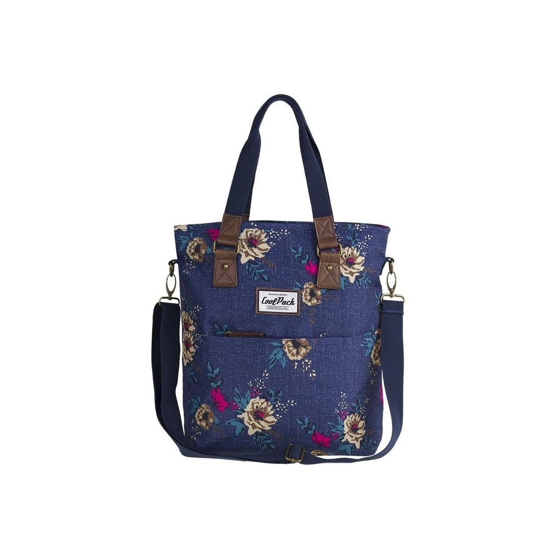 d8b3403162103 Torba damska na ramię CoolPack CP AMBER BLUE DENIM FLOWERS jeans w kolorowe  kwiaty elementy z