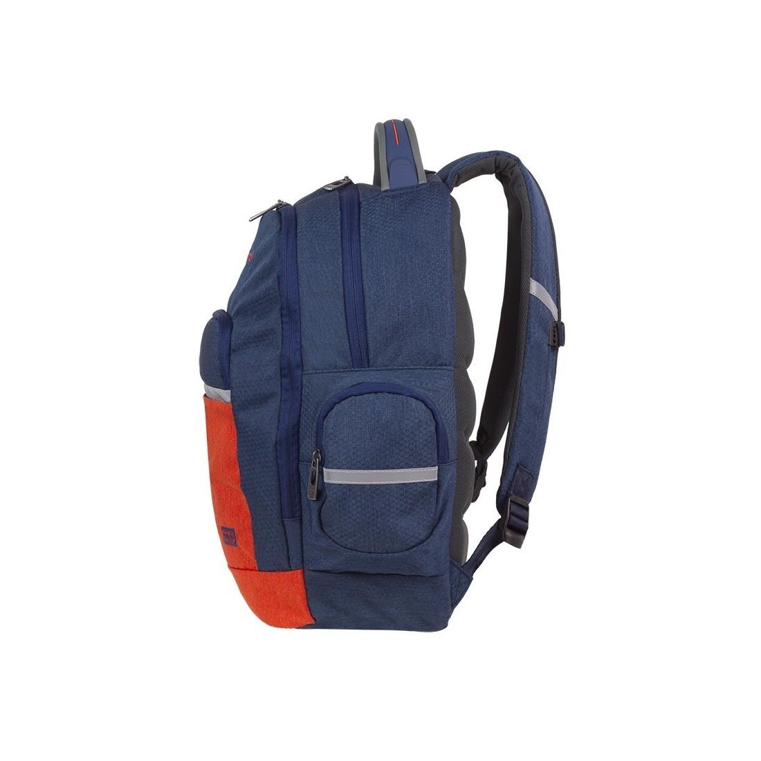 bbd6ac4b6d2f3 Granatowo-pomarańczowy plecak szkolny 2 przegrody CoolPack Brick ...