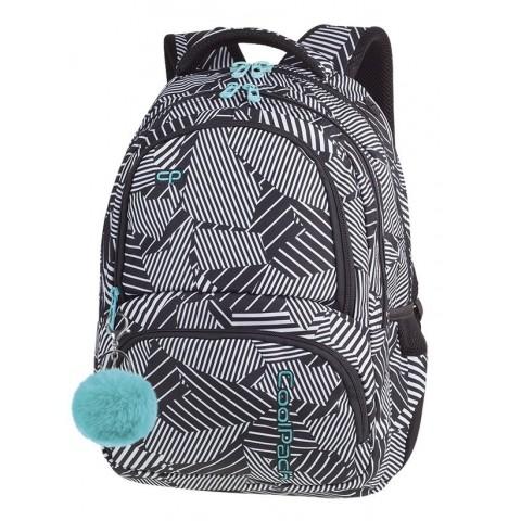 Plecak szkolny CoolPack CP SPINER BLACK & WHITE czarno biały linie seledynowe elementy A016