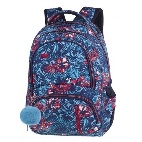 61ef23f281bd5 Plecak szkolny CoolPack CP SPINER EMERALD JUNGLE niebieskie i czerwone  kwiaty A051