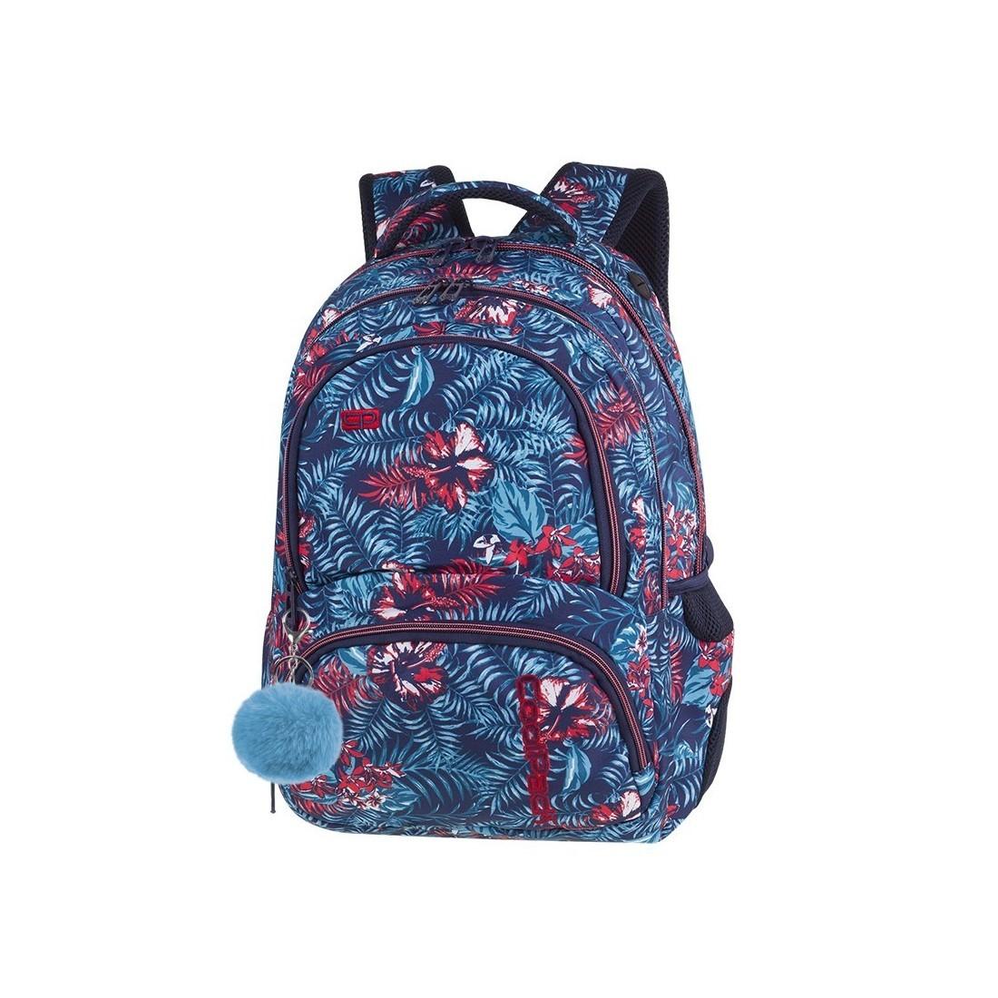 71cef14b83cbf Plecak szkolny CoolPack CP SPINER EMERALD JUNGLE niebieskie i czerwone  kwiaty A051