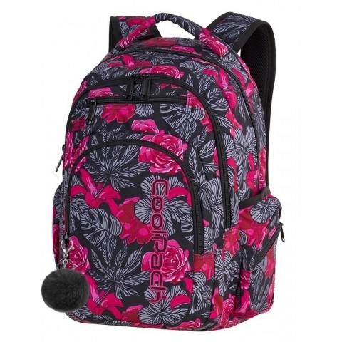 Plecak szkolny CoolPack CP FLASH RED & BLACK FLOWERS hiszpańskie kwiaty dla nastolatki A240 + POMPON GRATIS