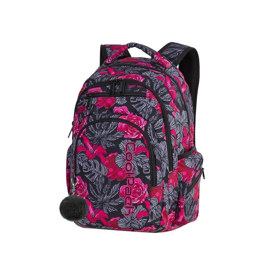 8b76f25e25daf Plecak szkolny CoolPack CP FLASH RED & BLACK FLOWERS hiszpańskie kwiaty dla  nastolatki A240 + POMPON