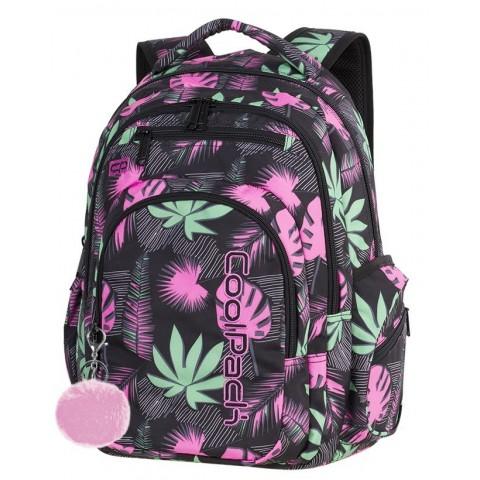 Plecak szkolny CoolPack CP FLASH POLYNESIAN FOREST różowe i zielone liście dla nastolatki - A248 + POMPON GRATIS