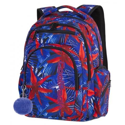 Plecak szkolny CoolPack CP FLASH HAWAIAN BLUE hawajskie czerwone kwiaty dla nastolatki - A303 + POMPON GRATIS