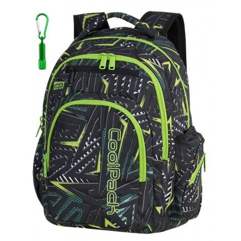 Plecak szkolny CoolPack CP FLASH TRIANGULAR SPIRAL spirale zielone wzory abstrakcja dla nastolatka - A195+ LATARKA GRATIS
