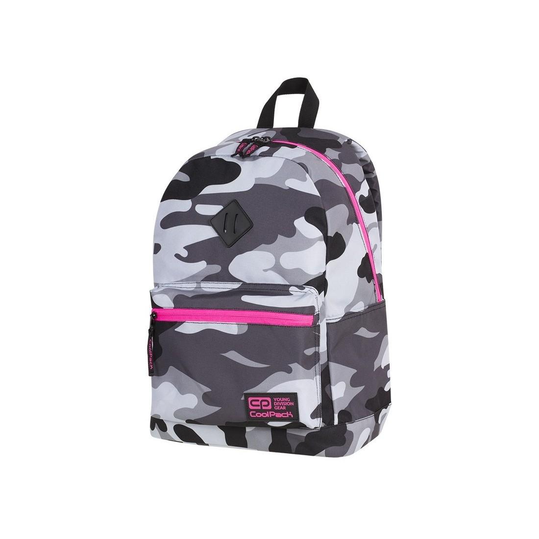 7121b1c8b7870 Plecak miejski CoolPack CP CROSS EVA CAMO PINK NEON dla nastolatek moro z  różowymi elementami -