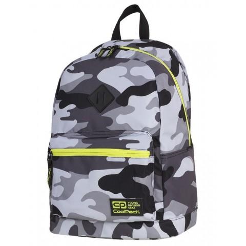 Plecak miejski CoolPack CP CROSS EVA CAMO YELLOW NEON dla nastolatków szare moro z żółtymi elementami - A366