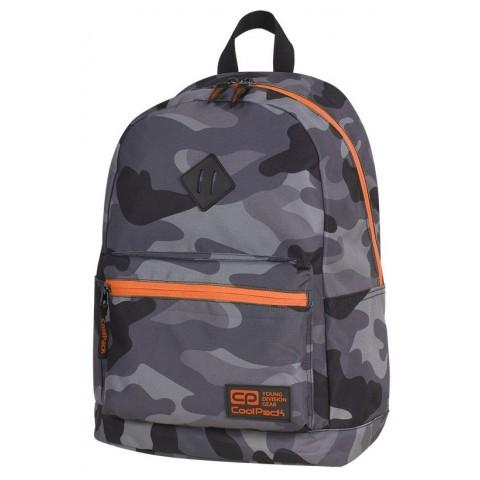 Plecak miejski CoolPack CP CROSS EVA CAMO ORANGE NEON dla nastolatków moro z pomarańczowymi elementami - A381