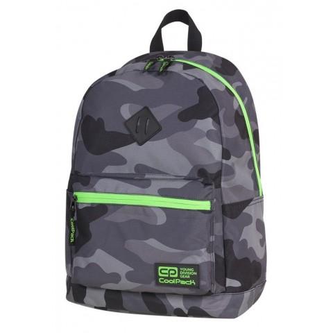 Plecak miejski CoolPack CP CROSS EVA CAMO GREEN NEON dla uczniów moro z zielonymi elementami - A372