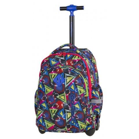 Plecak na kółkach kolorowa abstrakcja zielony, niebieski, czerwony dla chłopaka CoolPack CP JUNIOR GEOMETRIC SHAPES