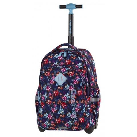 Plecak w kwiaty niebieski, czerwony, granatowy dla dziewczyny CoolPack CP JUNIOR TROPICAL BLUISH