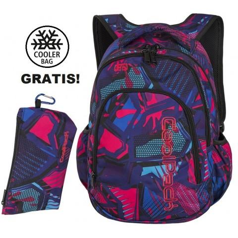 Plecak do klas 1-3 CoolPack CP PRIME CRAZY PINK ABSTRACT kolorowa abstrakcja dla uczennicy - A286 + GRATIS COOLER BAG