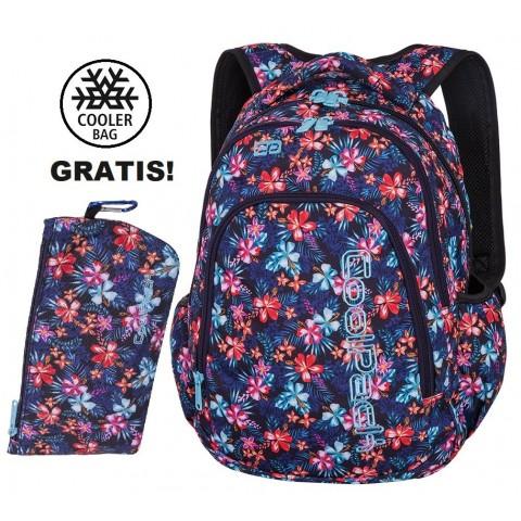 Plecak szkolny (do klas 1-3) CoolPack CP PRIME TROPICAL BLUISH kwitnąca łąką uczennicy - A223 + GRATIS COOLER BAG
