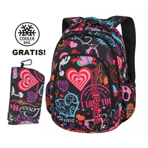Plecak szkolny (do klas 1-3) CoolPack CP PRIME EMOTIONS w kolorowe serca dla dziewczynki - A255 + GRATIS