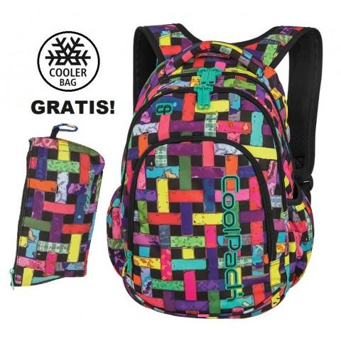 Plecak szkolny (do klas 1-3) CoolPack CP PRIME RIBBON GRID kolorowe wstążki w kratkę dla dziewczynki - A297 + GRATIS COOLER BAG