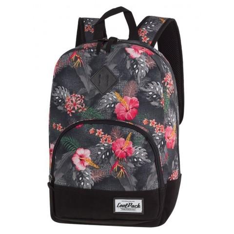 Plecak w kwiaty szary, różowy, zielony, dla dziewczyny CoolPack CP CLASSIC CORAL HIBISCUS