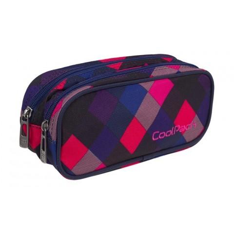 Saszetka podwójna CoolPack CLEVER ELECTRIC PINK różowa kratka A524