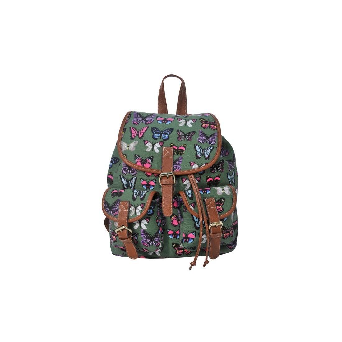 Plecak młodzieżowy Canvas Vintage zielony w motyle - plecak-tornister.pl