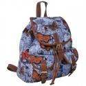 Plecak młodzieżowy Canvas Vintage - błękitny w motyle