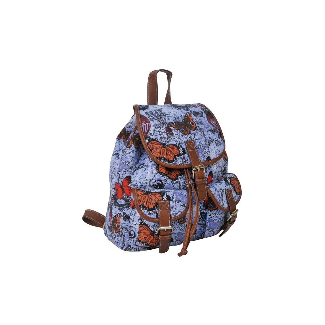 Plecak młodzieżowy Canvas Vintage - błękitny w motyle - plecak-tornister.pl