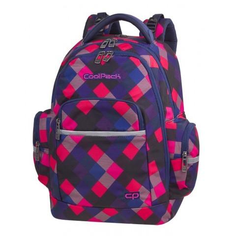 Plecak szkolny CoolPack CP BRICK ELECTRIC PINK różowe i granatowe kwadraty