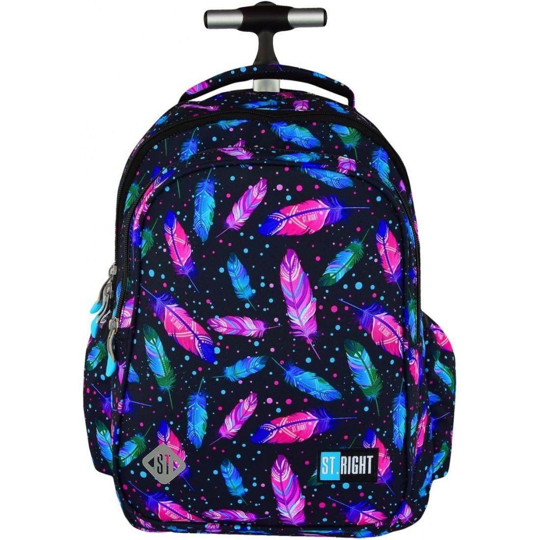 e67139f9bf9b7 Plecak na kółkach ST.RIGHT FEATHERS kolorowe piórka dla dziewczyn HIT 2018