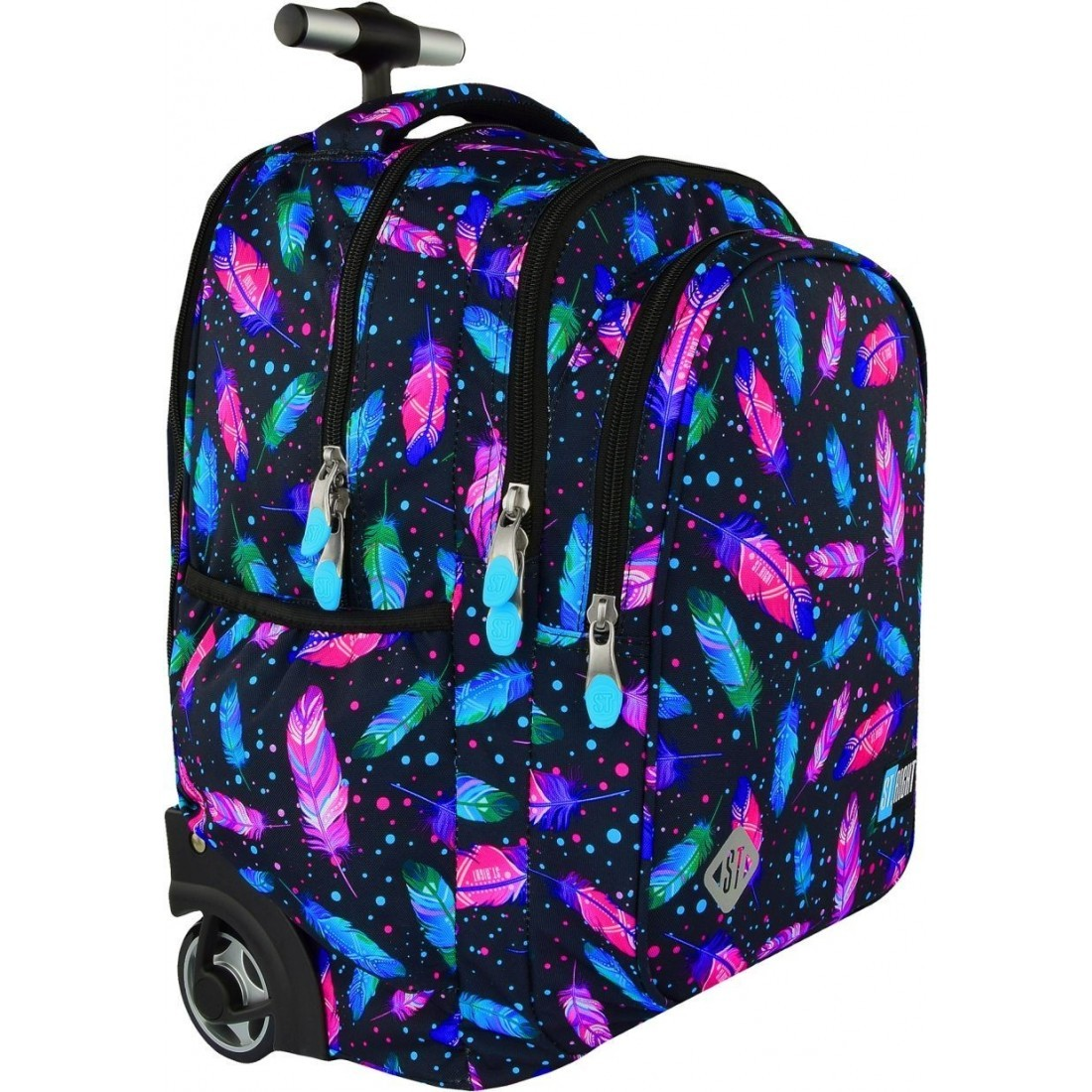 d4df0681a726a ... Plecak na kółkach ST.RIGHT FEATHERS kolorowe piórka dla dziewczyn HIT  2018 ...