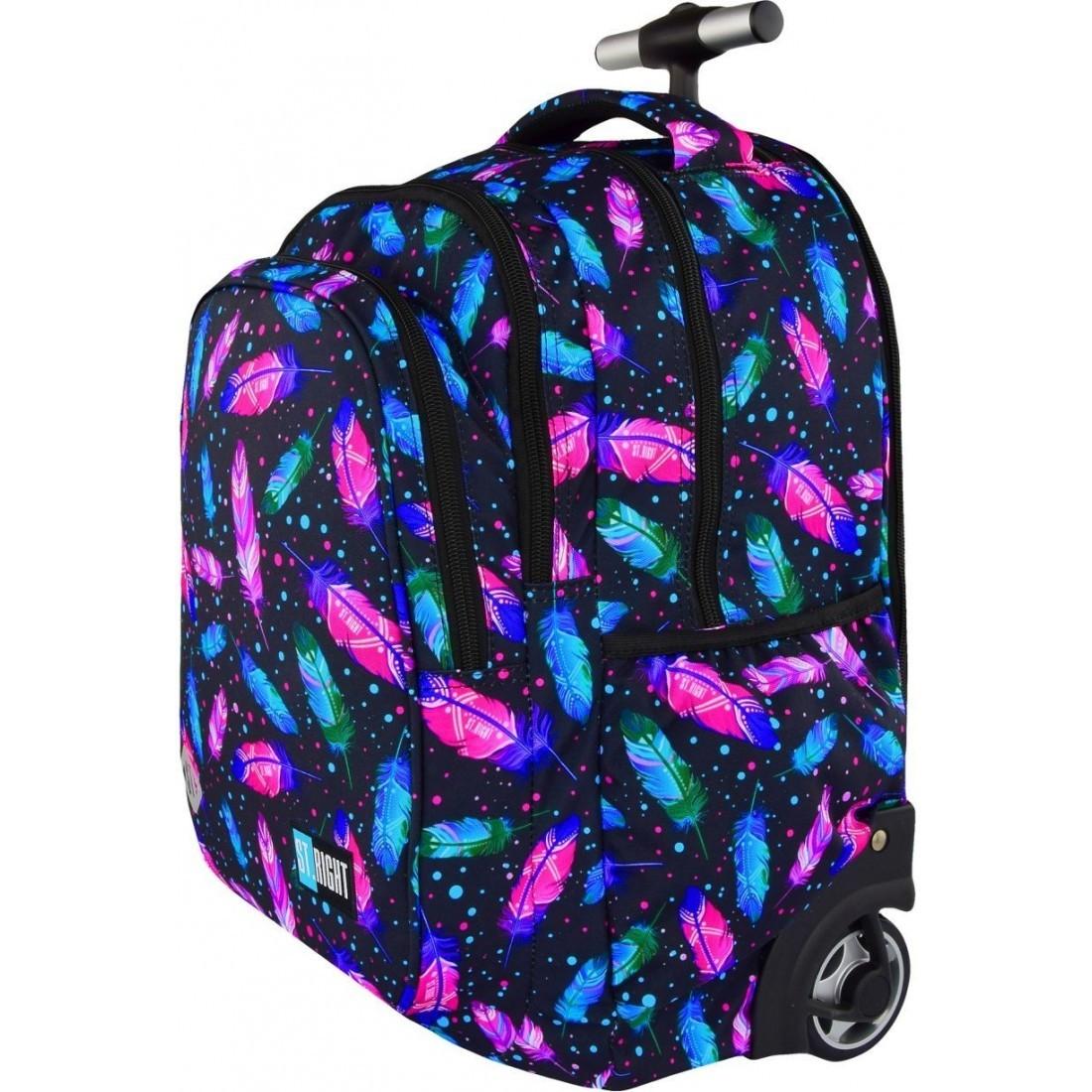 ccce33c86 ... Plecak na kółkach ST.RIGHT FEATHERS kolorowe piórka dla dziewczyn HIT  2018 ...