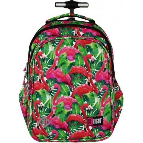 Plecak na kółkach ST.RIGHT FLAMINGO PINK&GREEN różowe flamingi dla dziewczyny