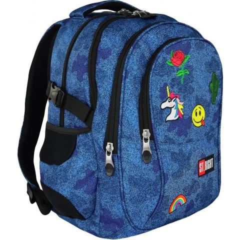 Plecak szkolny ST.RIGHT JEANS & BADGES niebieski dżins i naszywki młodzieżowy