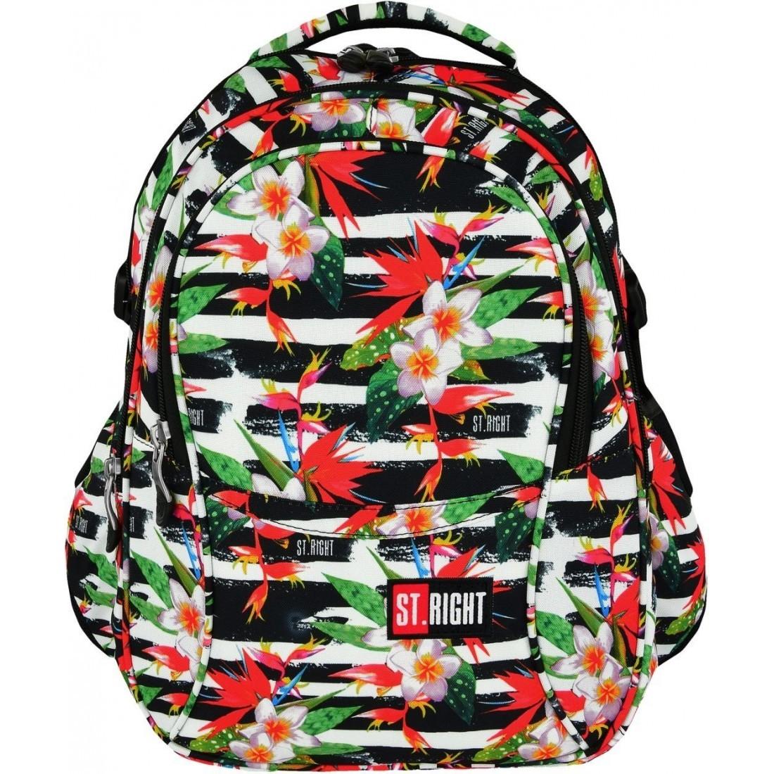 0258088dc983c Plecak szkolny ST.RIGHT TROPICAL STRIPES kwiat hibiskusa dla nastolatek