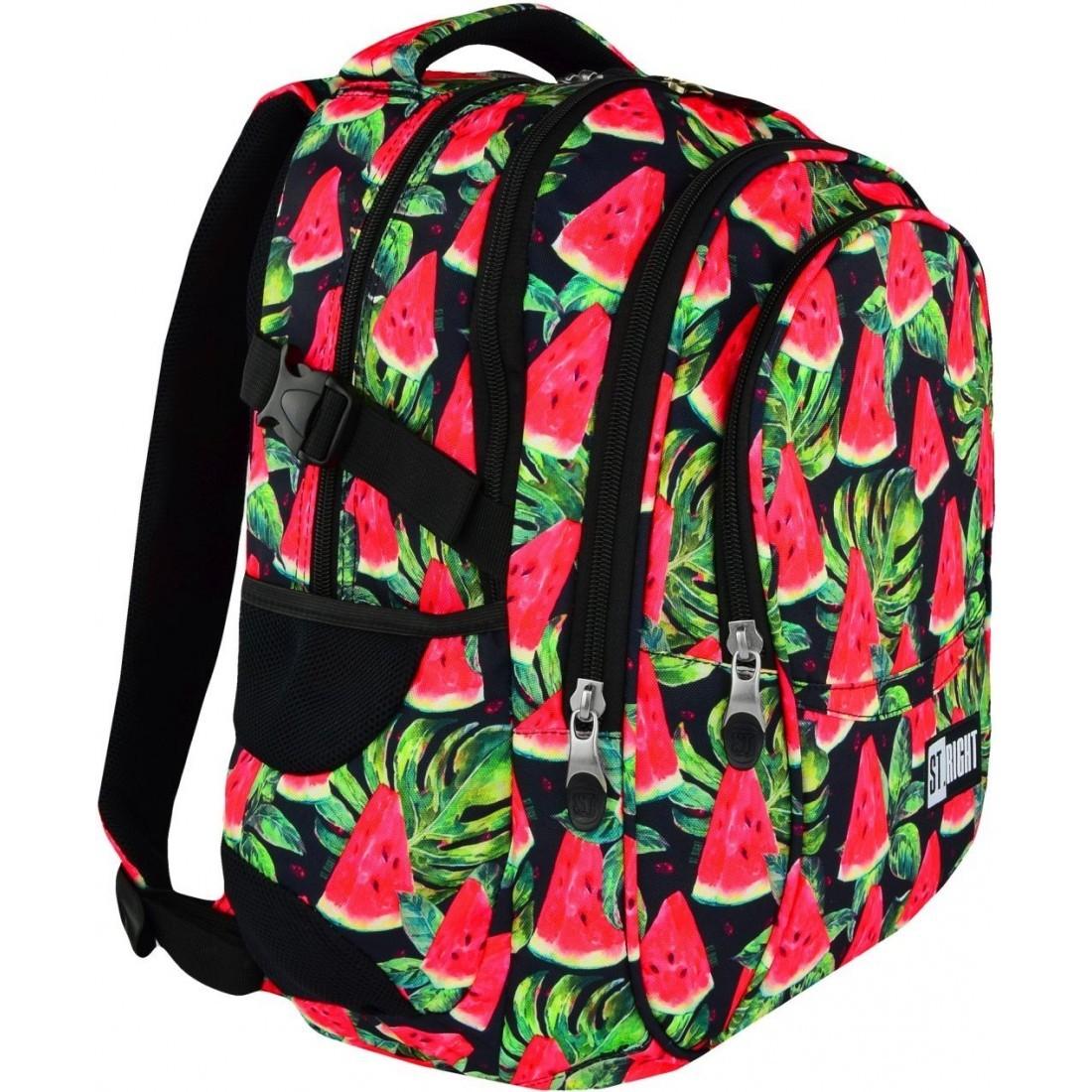68522fcfc250a Czerwony plecak z arbuzami do szkoły 3 komory ST.RIGHT WATERMELON ...