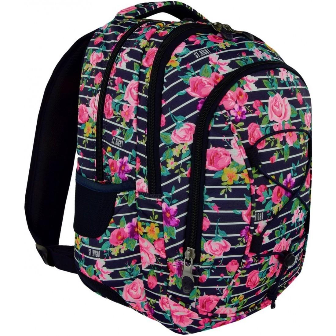 27eeec11b3c0a Plecak szkolny ST.RIGHT LIGHT ROSES różowe róże paski dla dziewczyny