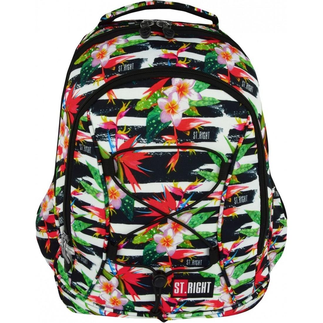 1ee85f3893aba Plecak szkolny 32 ST.RIGHT TROPICAL STRIPES kwiat hibiskusa dla dziewczyn