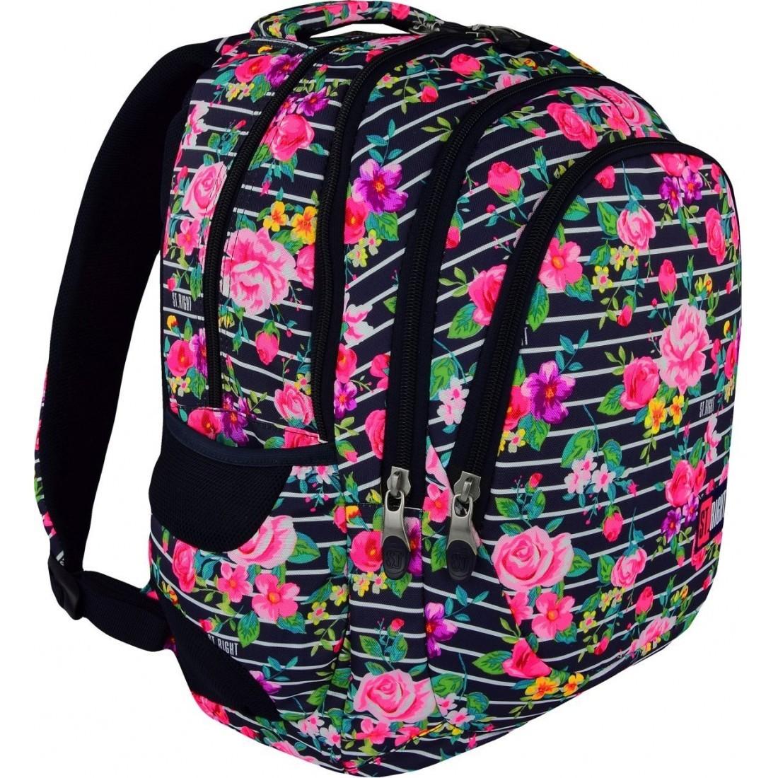 663f837a568f5 Plecak szkolny LIGHT ROSES małe róże w paski dla dziewczyny HIT 2018 ...