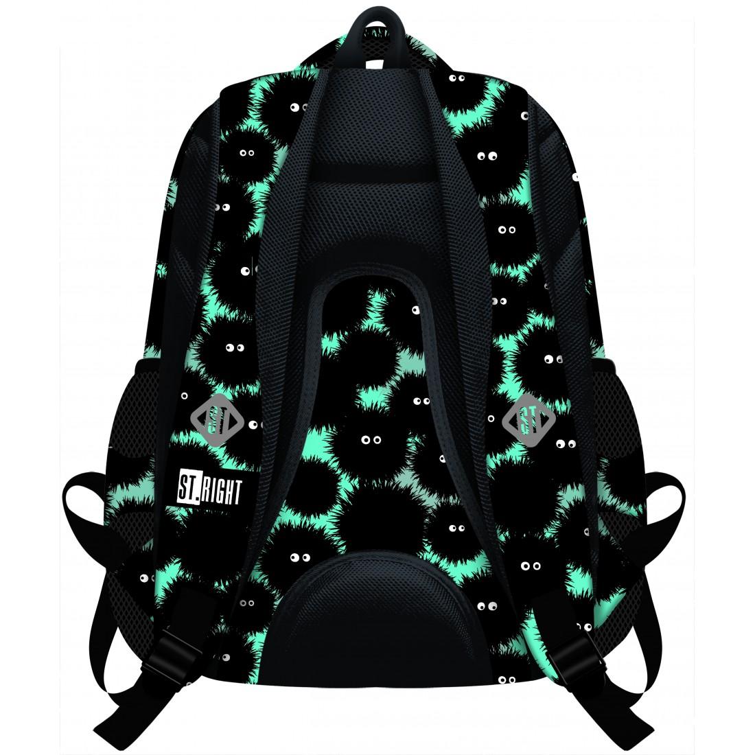 379cbc0af219f RIGHT MONSTERS czarne potwory - BP07  Plecak szkolny ST.RIGHT MONSTERS  czarne potwory - BP07