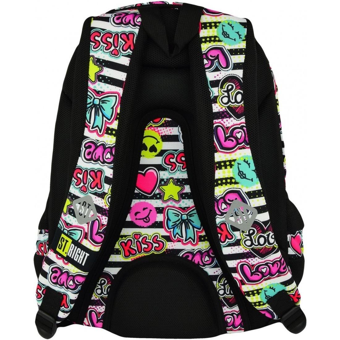 59b07ae80613e ... Plecaki szkolne · Plecak szkolny ST.RIGHT KISS   LOVE kolorowe  emotikony i napisy - BP07. Obniżka