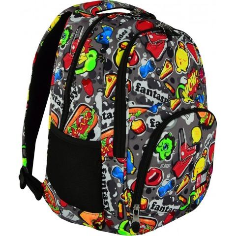 Plecak szkolny 23 ST.RIGHT FAST FOOD hamburgery hot dogi młodzieżowy styl