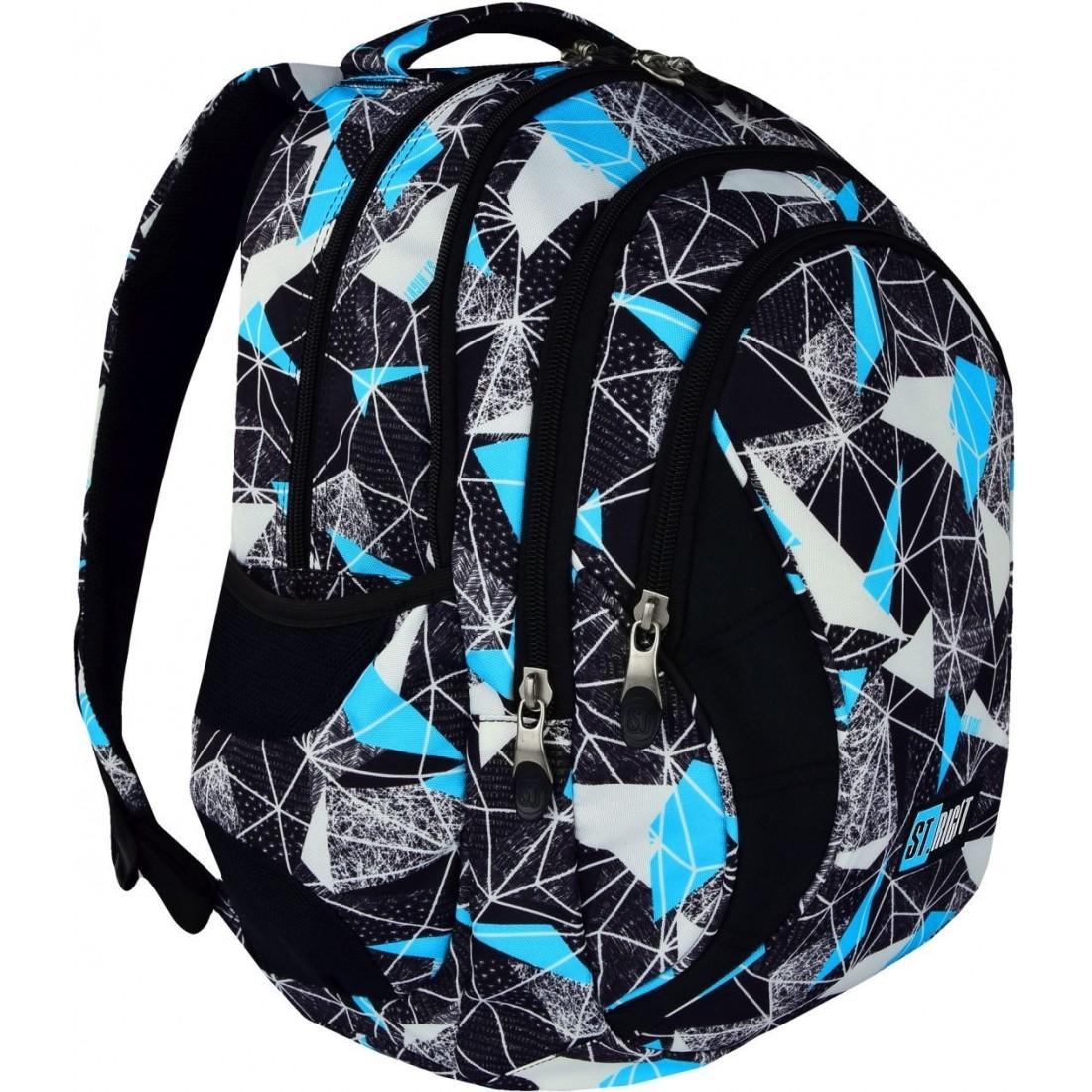 f781ab1bb5603 Plecak szkolny ST.RIGHT NET BLUE szare i niebieskie figury czarne zamki -  BP02