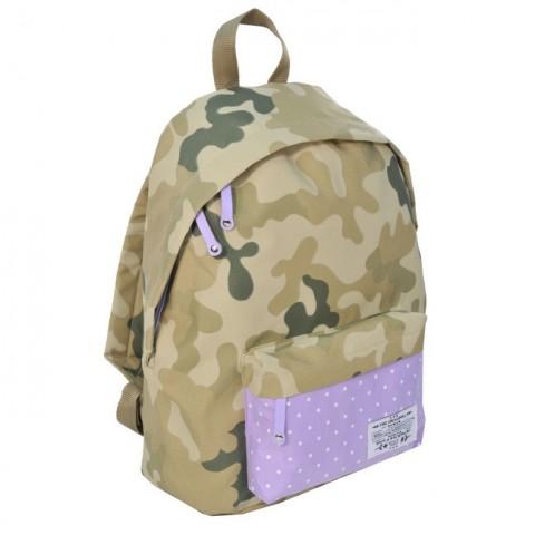 Plecak młodzieżowy Moro Khaki fioletowy w kropki