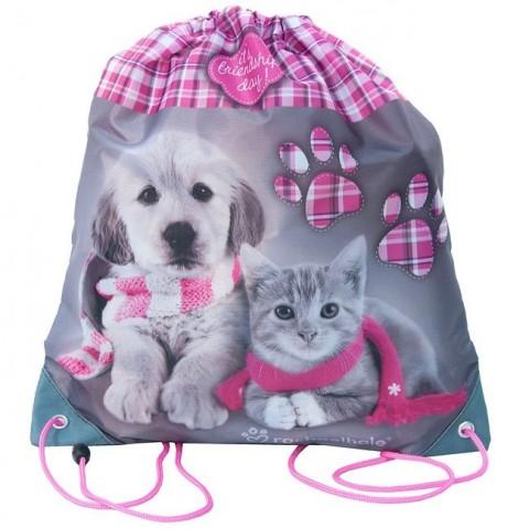 Worek szkolny Rachael Hale z pieskiem i kotkiem w szaliku