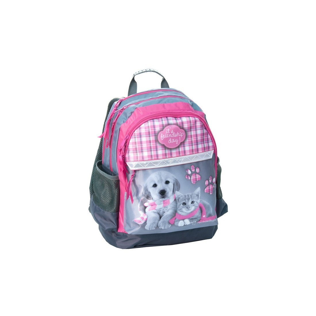 Plecak szkolny Rachael Hale z pieskiem i kotkiem w szaliku - plecak-tornister.pl