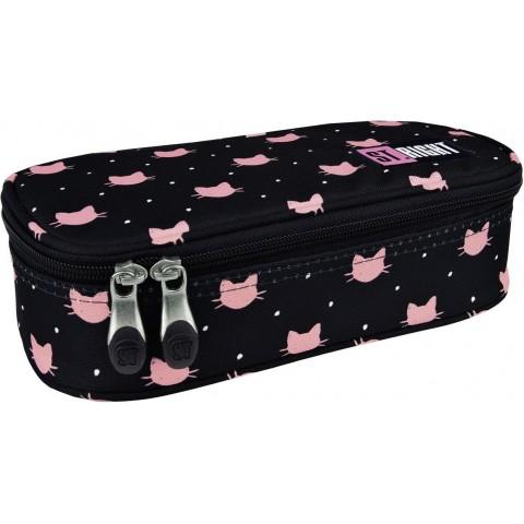 Piórnik / etui XL ST.RIGHT MEOW różowe kotki na czarnym tle dla dziewczyny